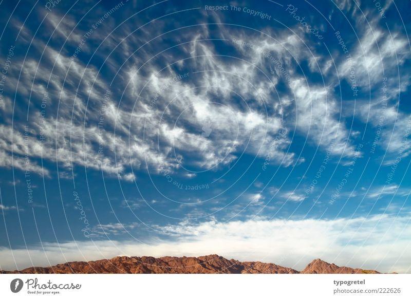Wolkensturm Ferien & Urlaub & Reisen Ferne Expedition Berge u. Gebirge Landschaft Himmel Wüste Unendlichkeit blau braun weiß Horizont Wolkenhimmel Tag Farbfoto