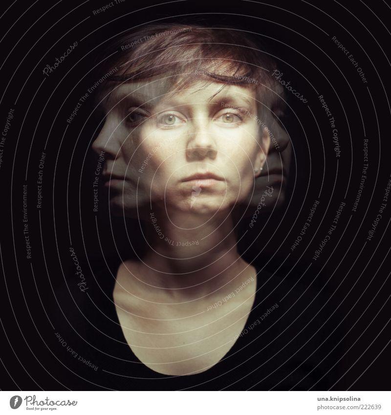 III feminin Junge Frau Jugendliche Erwachsene 1 Mensch 18-30 Jahre Bewegung Denken Gefühle Stress Verzweiflung Schizophrenie Doppelbelichtung Zweifel schwarz