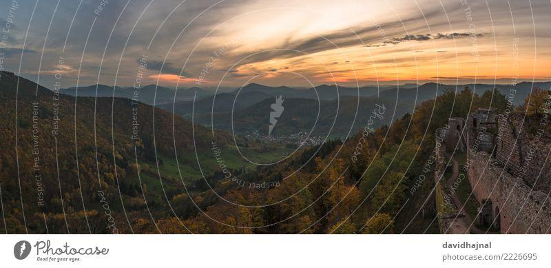 Pfälzerwald Tourismus Sightseeing wandern Natur Landschaft Himmel Wolken Horizont Herbst Wetter Nebel Pflanze Baum Wald Hügel Felsen Berge u. Gebirge Gipfel