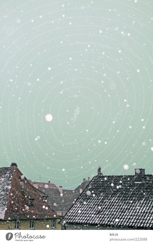 Blick aus dem Fenster... Himmel Winter Eis Frost Schnee Schneefall Kleinstadt Haus Einfamilienhaus Dach kalt Kitsch Schneelandschaft Schneeflocke Schneewehe
