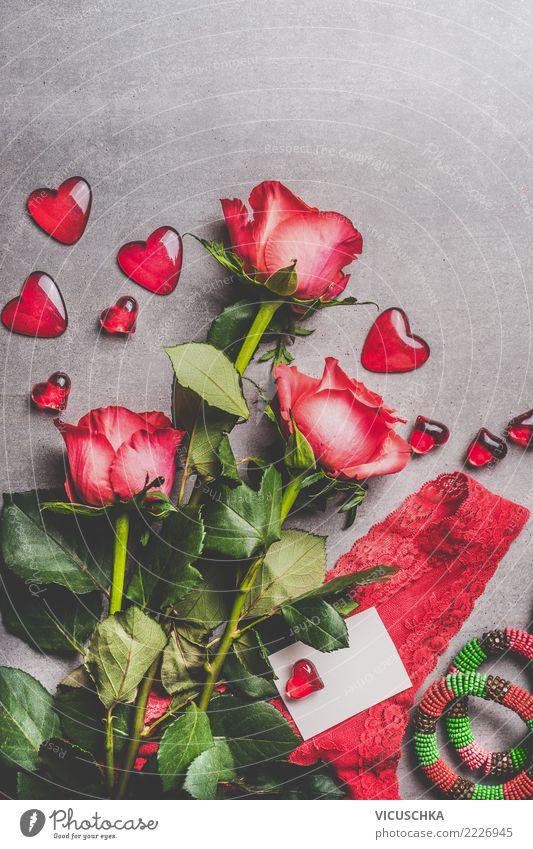 Valentinstag Karte mock up Stil Design Party Veranstaltung Feste & Feiern Blume Rose Dekoration & Verzierung Blumenstrauß Zeichen Liebe Symbole & Metaphern Herz