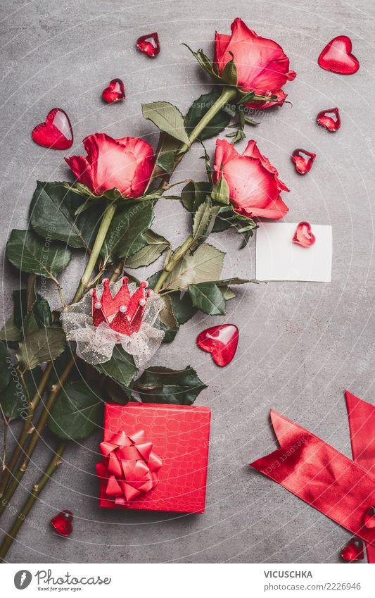 Valentinstag Composing mit Rosen and Herzen Blume rot Blatt Blüte Liebe Stil Feste & Feiern Design Dekoration & Verzierung Geschenk Zeichen Symbole & Metaphern