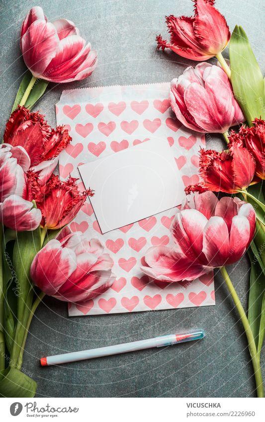 Grußkarte für Frühlingsfeste mit hübschen Tulpen Pflanze Blume rot Leben Liebe Hintergrundbild Stil Feste & Feiern Party rosa Design Dekoration & Verzierung