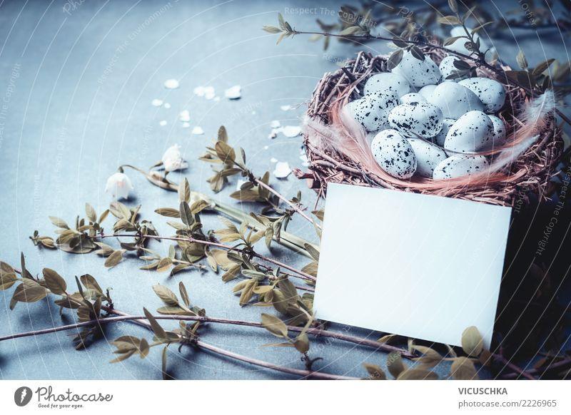 Mock-up für Ostern Grußkarte Stil Design Dekoration & Verzierung Feste & Feiern Natur Pflanze Frühling Sträucher Blatt Blüte retro gelb Tradition