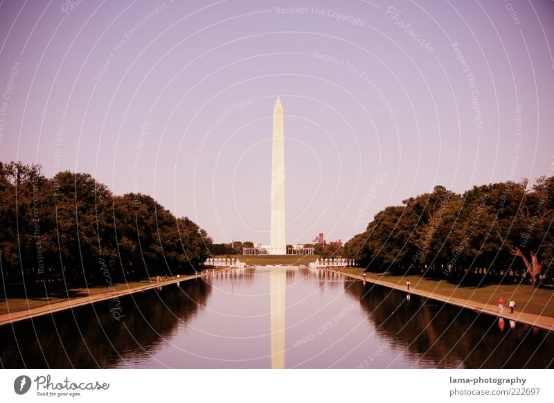 In memoriam... Park Teich Washington Washington DC USA Amerika Hauptstadt Bauwerk Architektur Obelisk Sehenswürdigkeit Wahrzeichen Denkmal Bekanntheit violett