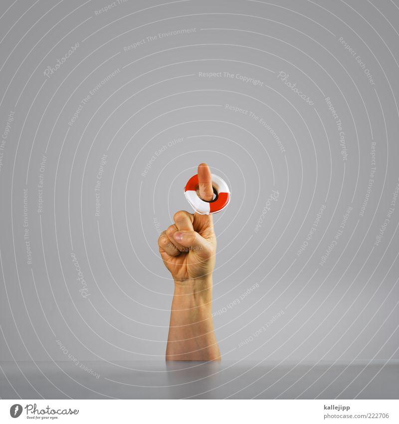 help me! Mensch Mann Erwachsene Hand Finger 1 retten Chance Notfall Zeigefinger Rettung Rettungsring zeigen Farbfoto Gedeckte Farben Innenaufnahme