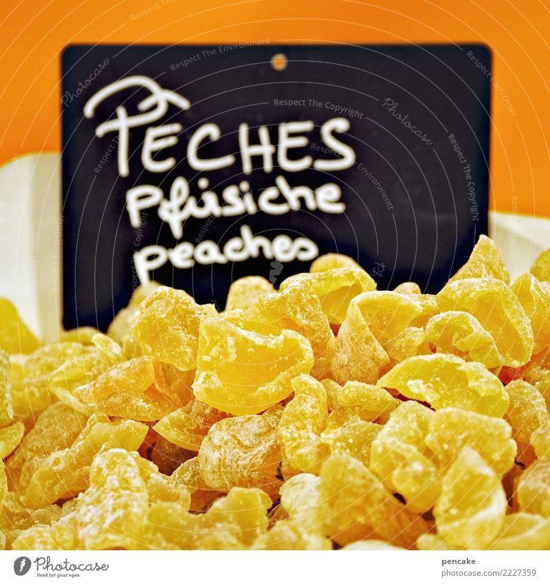 fürchterlich | süß Lebensmittel Süßwaren Frucht Zucker Pfirsich Geschmackssinn Schilder & Markierungen Tafel Ladengeschäft Angebot Kalorie ungesund gezuckert