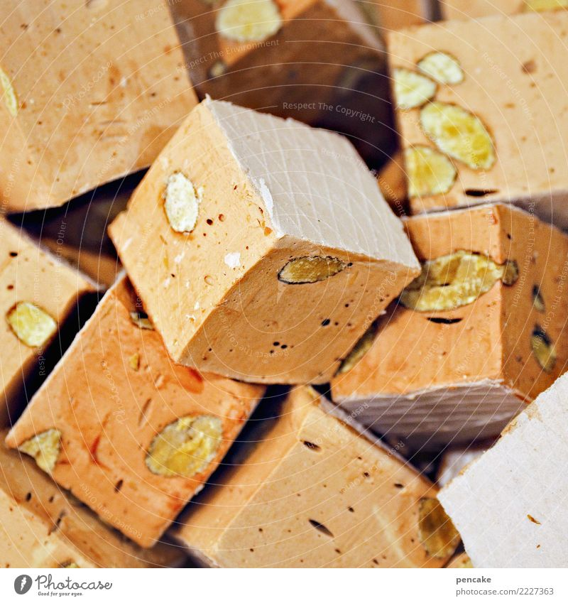 plombenzieher Süßwaren genießen türkischer Honig Zucker Nuss hart süß Quader Würfel Spezialitäten Farbfoto Innenaufnahme Nahaufnahme Muster Strukturen & Formen