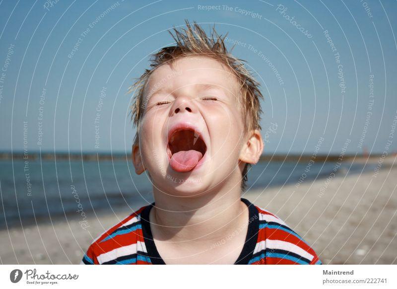 Durst Mensch Kind Wasser schön Strand Gesicht Junge Glück Fröhlichkeit Kindheit außergewöhnlich schreien Kleinkind Lebensfreude Überraschung frech