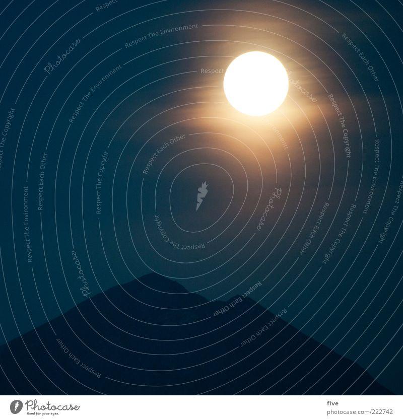happy birthday pc Natur Landschaft Himmel Nachthimmel Mond Vollmond Herbst Schönes Wetter Alpen Berge u. Gebirge Gipfel kalt Stimmung Stativ Mondschein dunkel