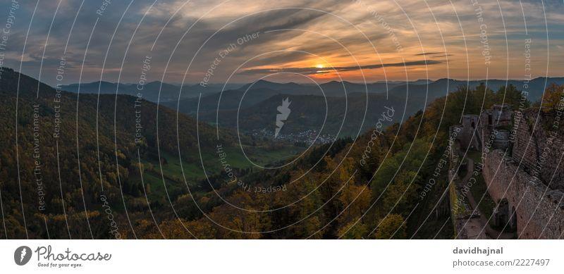 Pfälzerwald Tourismus Sightseeing Berge u. Gebirge wandern Natur Landschaft Himmel Wolken Horizont Sonne Sonnenaufgang Sonnenuntergang Herbst Wetter Baum Wald