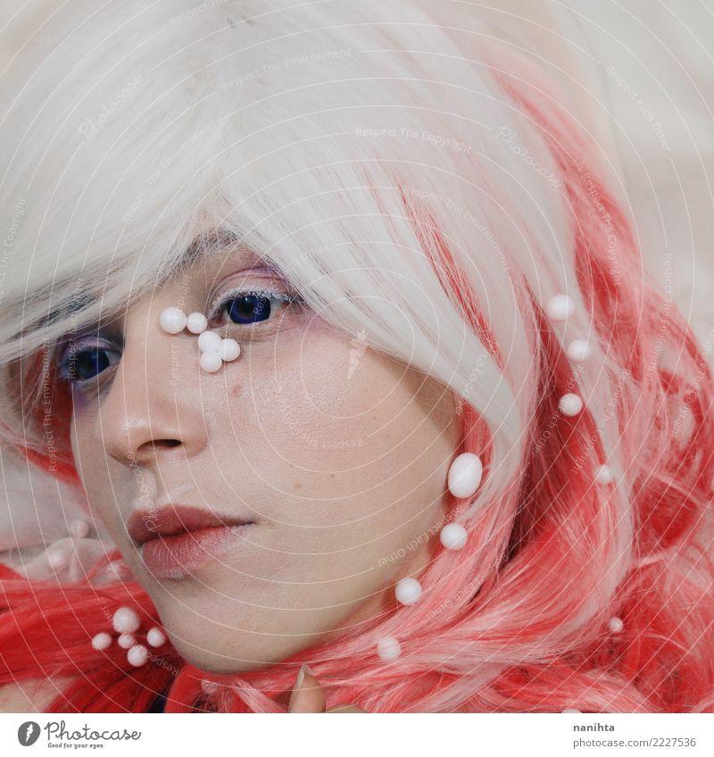 Künstlerisches Porträt einer jungen Frau Lifestyle elegant Stil exotisch schön Haare & Frisuren Haut Gesicht Kosmetik Schminke Mensch feminin Junge Frau
