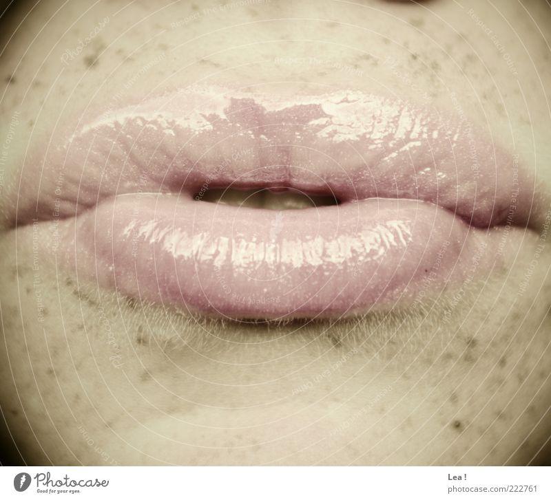 Schmatzer feminin rosa Mund Lippen Sommersprossen Mensch Kosmetik Kussmund Lipgloss