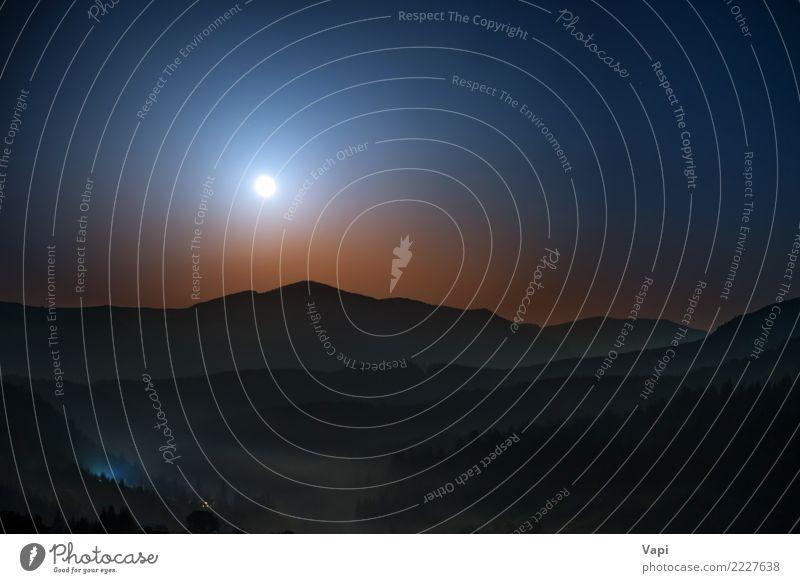 Mond, der nachts über Berge steigt Himmel Natur Ferien & Urlaub & Reisen blau Sommer Farbe weiß Landschaft rot dunkel Berge u. Gebirge schwarz gelb natürlich