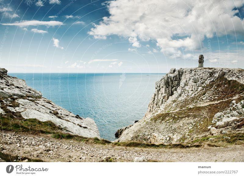 Fernweh II Ferien & Urlaub & Reisen Ferne Freiheit Natur Landschaft Urelemente Sand Wasser Himmel Wolken Felsen Küste Bucht Riff Meer Klippe Atlantik Bretagne