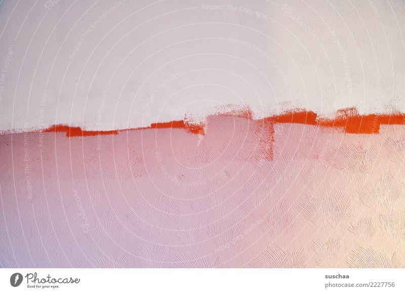 überstreichen Farbe weiß Wand orange rosa Häusliches Leben Renovieren Rest Farbrest