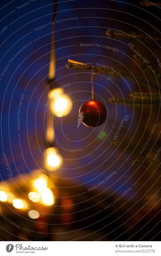 ich liebe die Adventszeit Stil Design Dekoration & Verzierung Kugel Lichterkette hängen leuchten blau gold rot Christbaumkugel Glühbirne Weihnachtsmarkt