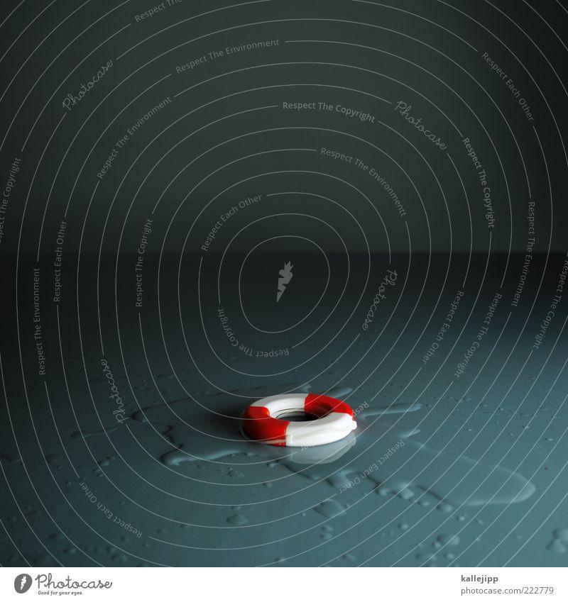 kein grund zur panik Wasser Wassertropfen Rettungsring Notfall Hilferuf Hilfsbereitschaft notfallplan Krise Schiffsunglück Finanzkrise grau Unfall Desaster