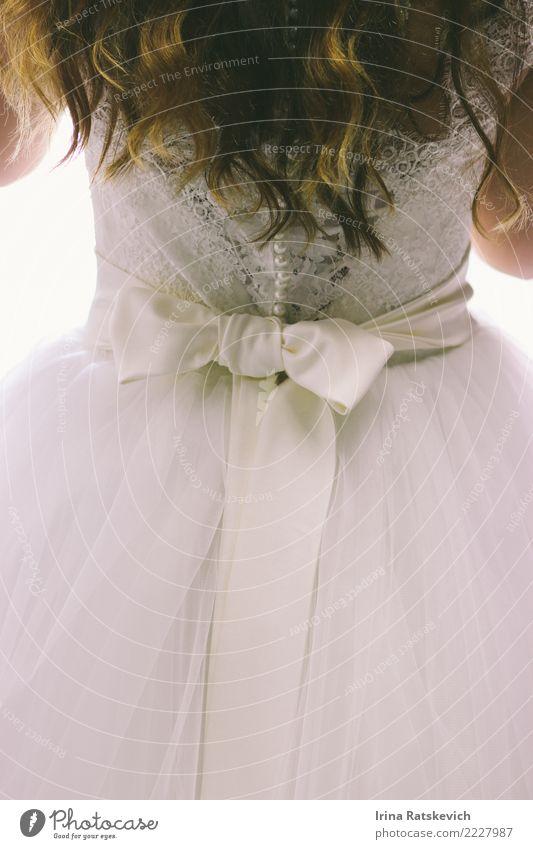 Hochzeitskleid Frau Erwachsene Haare & Frisuren 1 Mensch 18-30 Jahre Jugendliche Mode Kleid Accessoire schwarzhaarig schön niedlich Stimmung Freude Fröhlichkeit