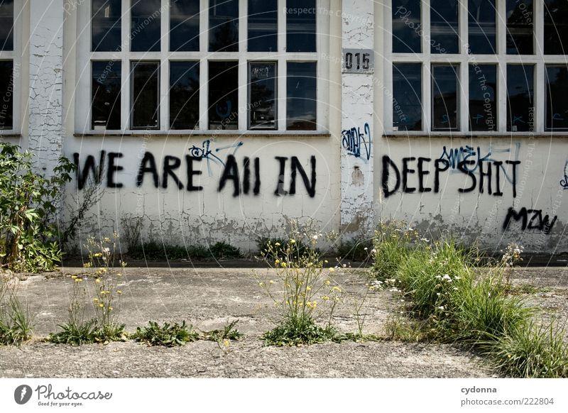 Alles wie gehabt Wand Fenster Graffiti Mauer Fassade ästhetisch Schriftzeichen Zukunft Kommunizieren Verfall Typographie Gesellschaft (Soziologie) Idee Meinung Verzweiflung Straßenkunst