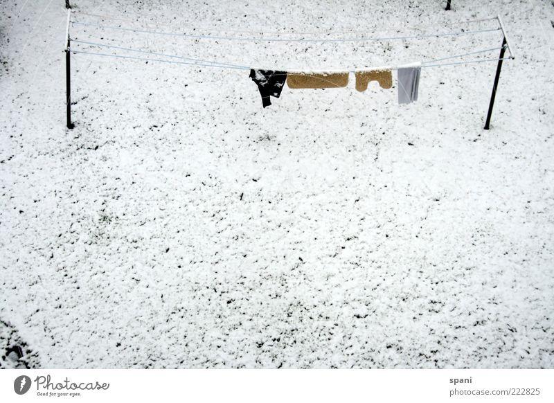 gepflegt abhängen... weiß Winter Schnee Gras Garten hell Hose Hemd vergessen stagnierend Wäscheleine Morgendämmerung