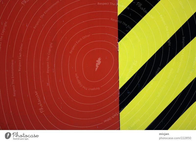Linear Colors |Procrastination rot schwarz gelb Farbe Mauer Metall Linie Schilder & Markierungen Design verrückt Sicherheit gefährlich Baustelle Streifen