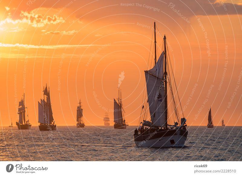 Segelschiffe auf der Hanse Sail in Rostock Erholung Ferien & Urlaub & Reisen Tourismus Segeln Wasser Wolken Küste Ostsee Schifffahrt maritim Romantik Idylle