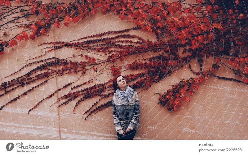 Junge Frau in einer Wand mit rotem Efeu Mensch Natur Jugendliche Pflanze schön Blatt Winter 18-30 Jahre Erwachsene Lifestyle Herbst natürlich feminin