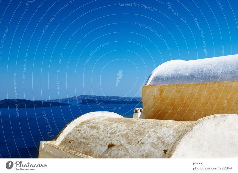 Sommer alt blau weiß schön Sommer Ferien & Urlaub & Reisen ruhig Haus gelb Erholung Wand Mauer Fassade Tourismus Insel Dach