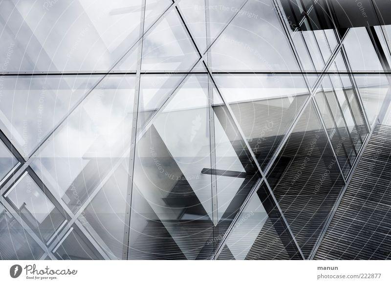 Glasfassade kalt Fenster oben Holz Gebäude Architektur glänzend Glas Fassade planen ästhetisch modern Wachstum authentisch Reichtum