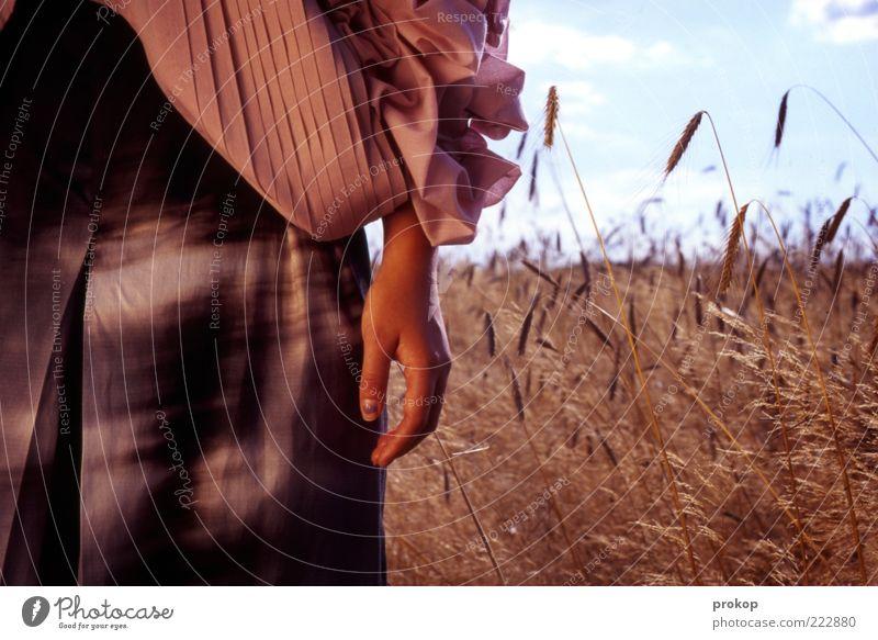 Sparta Mensch feminin Junge Frau Jugendliche Erwachsene Hand 1 18-30 Jahre Umwelt Natur Landschaft Himmel Wolken Schönes Wetter Feld Duft Erholung Leben Mode
