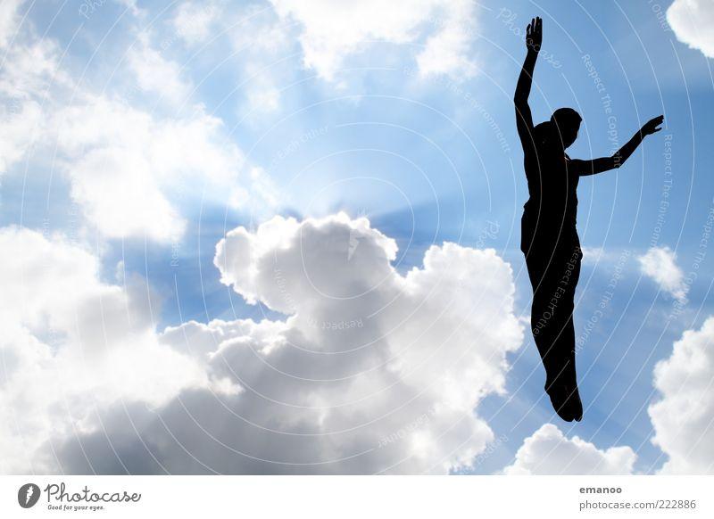 Silhouette 6 Lifestyle Freizeit & Hobby Sport Fitness Sport-Training Sportler Mensch Körper 1 Himmel Wolken Sonne Schönes Wetter Bewegung fliegen springen