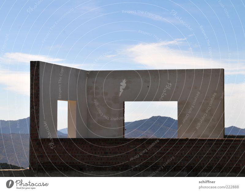 Lastminute-Angebot: Halbes Zimmer mit Ausblick II Himmel Haus Einsamkeit Wand Fenster Berge u. Gebirge Mauer Gebäude außergewöhnlich ohne Bauwerk skurril Ruine