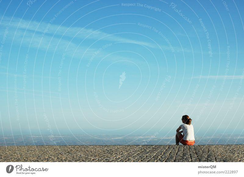 Close to Heaven. Jugendliche Sommer ruhig Ferne Erholung feminin träumen Denken Zufriedenheit Horizont sitzen hoch ästhetisch Pause Zukunft Aussicht