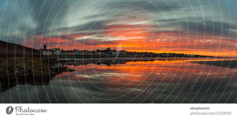 Sonnenuntergang am Strand mit schönen Himmel Ferien & Urlaub & Reisen Sommer Meer Natur Landschaft Sand Wolken Horizont Wetter Baum Küste Skyline heiß hell blau