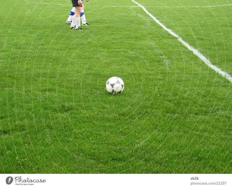 Freistoß ruhig Wiese Sport Gras Linie Fußball Ball Rasen Spielfeld Kreide Seite Taktik kürzen Spielzug Linienrichter