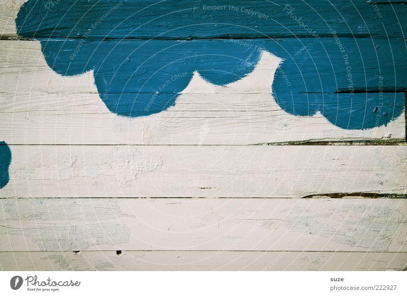 Blaue Wolke Himmel blau alt weiß Wolken Graffiti Wand Holz Kunst Hintergrundbild Wetter Fröhlichkeit Gemälde Holzbrett Zeichnung abstrakt