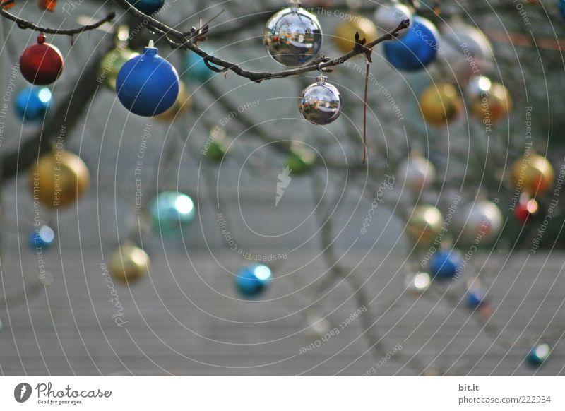 Kugellager Weihnachten & Advent Winter Feste & Feiern Glas gold glänzend Treppe rund Dekoration & Verzierung Kitsch viele hängen Sammlung silber