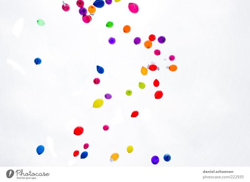 Nr 797 Feste & Feiern Luftballon fliegen blau mehrfarbig gelb grün violett rosa rot Glück Hoffnung einzigartig Froschperspektive Helium Gasballon Fliege viele