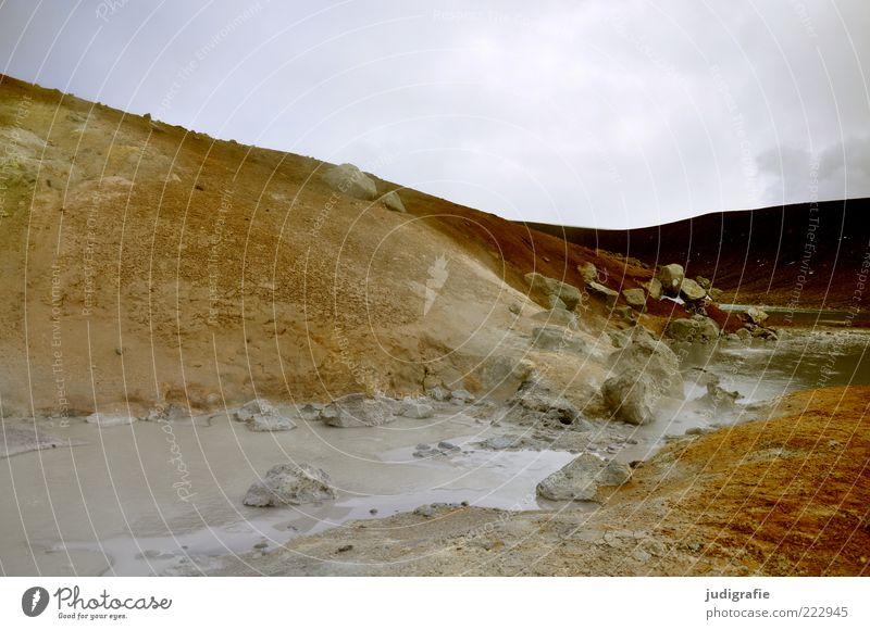 Island Umwelt Natur Landschaft Urelemente Erde Wasser Himmel Hügel Felsen Berge u. Gebirge Vulkan außergewöhnlich heiß wild Stimmung Heisse Quellen Farbfoto
