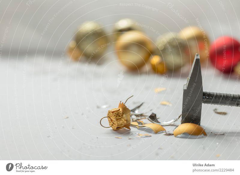 Weihnachten ... Nein Danke! Weihnachten & Advent Silvester u. Neujahr Hammer Christbaumkugel Haken Baumschmuck Glas Gold Kugel glänzend leuchten Aggression