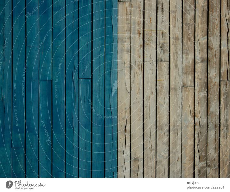 Nice blue | Shitty white Fassade Holz alt einfach trist Farbe Symmetrie blau grau Holzwand Holzbrett Zaun Grenze geteilt werbefrei Hälfte Farbfoto mehrfarbig