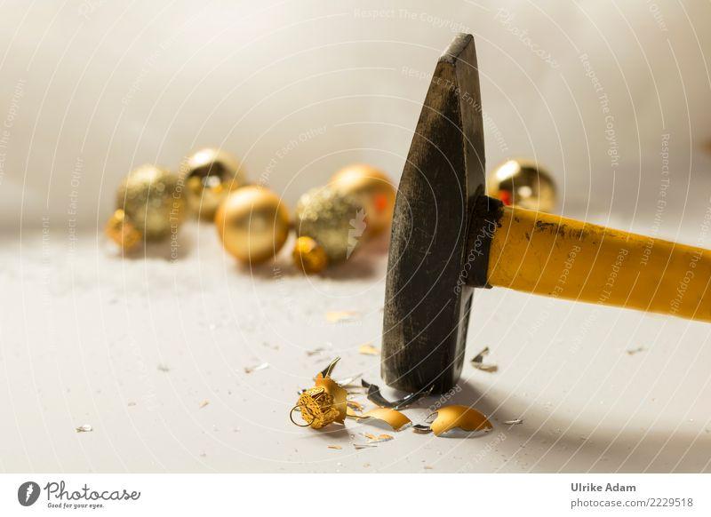 Anti - Weihnachten Feste & Feiern Weihnachten & Advent Silvester u. Neujahr Hammer Christbaumkugel Baumschmuck Glas Kugel Scherbe Schmuckanhänger glänzend
