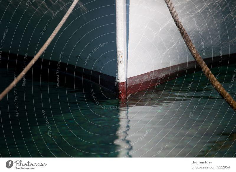Balance - akt Meer Wasser Sommer Schönes Wetter Bootsfahrt Fischerboot Beiboot Ruderboot Seil Zufriedenheit Romantik ruhig Perspektive Farbfoto Außenaufnahme