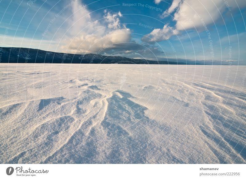 Natur Himmel blau Winter Wolken Schnee Berge u. Gebirge See Landschaft Eis Küste Frost
