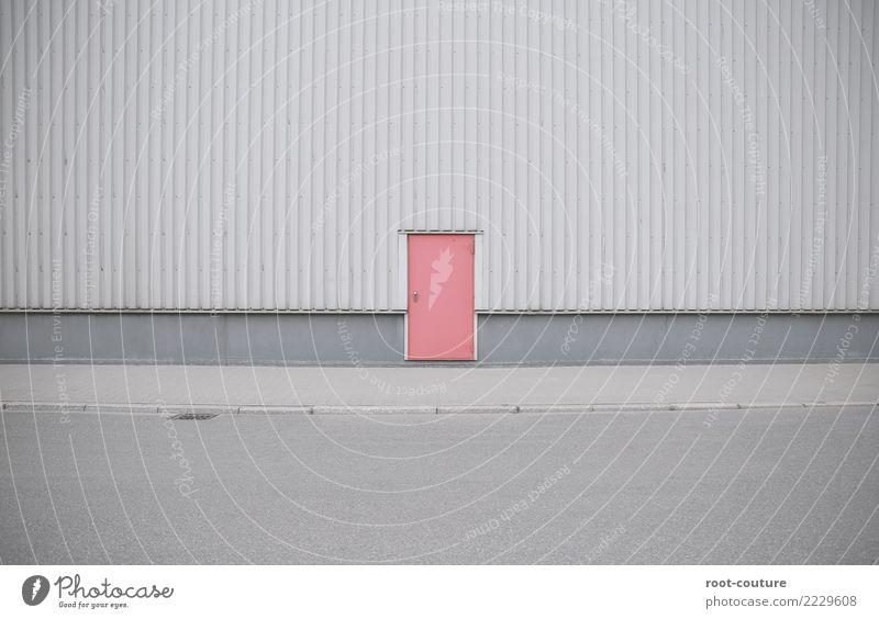 Backdoor rot Straße Wand Stil Gebäude Mauer grau Fassade Design Metall retro Tür Erfolg geschlossen Fußweg Industrie