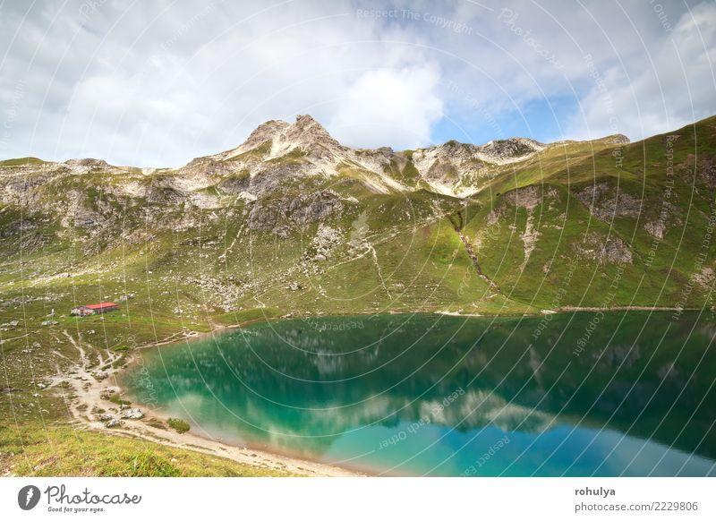Kabine durch Türkis alpinen See in Bergen Ferien & Urlaub & Reisen Berge u. Gebirge Haus Natur Landschaft Himmel Wolken Sommer Schönes Wetter Alpen Gipfel Hütte