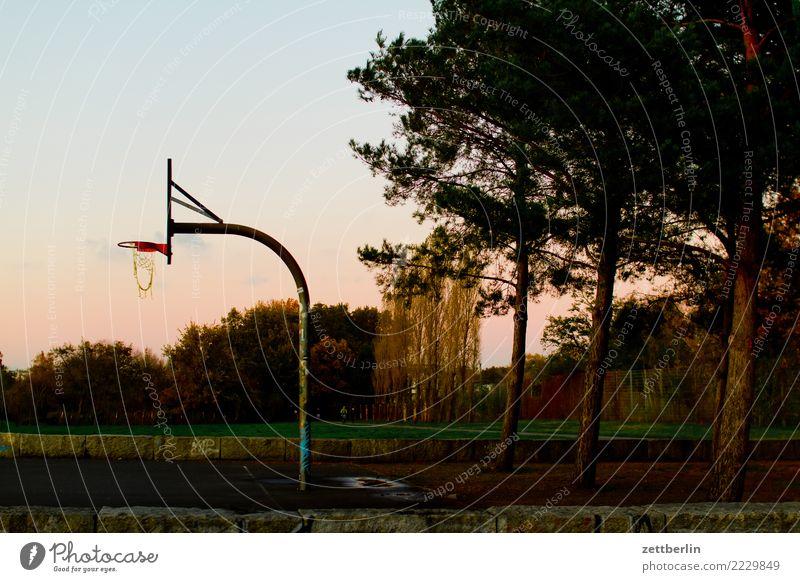 Basketballplatz im Baluschekpark Ballsport baluschekpark Basketballkorb Berlin Dämmerung Himmel Himmel (Jenseits) Korb Park Schöneberg Spielen Sport Herbst