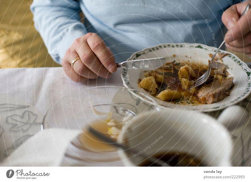 Festagsbraten Lebensmittel Ernährung Essen Mittagessen Abendessen Festessen Schweinebraten Braten Knödel Geschirr Teller Häusliches Leben Wohnung Mensch Mann