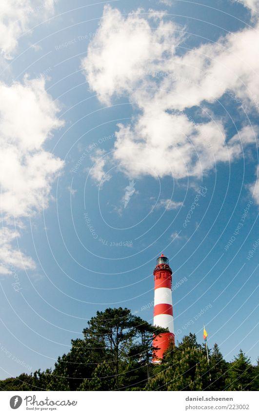 Amrum Himmel weiß blau rot Sommer Ferien & Urlaub & Reisen Meer Wolken Wetter hoch Insel Nordsee Leuchtturm gestreift Schönes Wetter